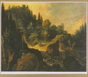 Rotsachtig berglandschap met de verzoeking van Christus (Matth. 4:1-11)