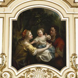 Portrait historié met krijger, vrouw en kind