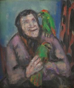 Oude vrouw met papegaai (authentiek)