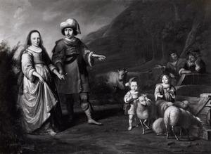 Portret van een onbekend echtpaar als Rebecca en Eliezer met twee kinderen