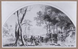 Landschap met de marteling van de H. Petrus Martyr (?)
