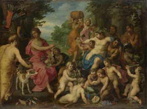 Bacchus en Diana met putti en saters in een landschap