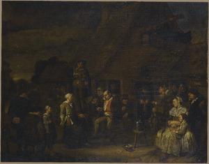 Vrolijk gezelschap drinkend en dansend voor een herberg bij de muziek van een vioolspeler op een ton
