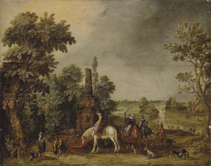 Weids landschap met een jachtgezelschap bij een antieke fontein, in de verte een regenbui