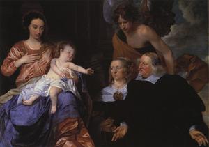 De Madonna met kind aanbeden door een onbekend echtpaar