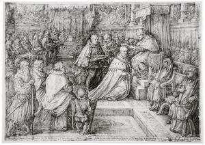 Paus Pius V kroont Cosimo de' Medici tot Groothertog van Toscane in de Sixtijnse Kapel