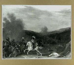 Ruitergevecht in een heuvellandschap