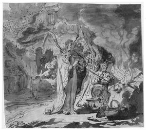 De engel laat Gideons offer ontbranden (Richteren 6:21)
