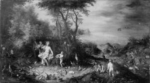 Allegorie van het water: Amphitrite in een landschap