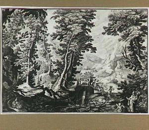 Boslandschap met een bisschop, een engel en andere figuren