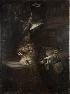 Stilleven van dode vogels op een stenen tafel