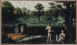 Het paradijs met de zondeval, de verrdrijving en Adam en Eva met de kinderen buiten het Paradijs (Genesis 3:1-7)