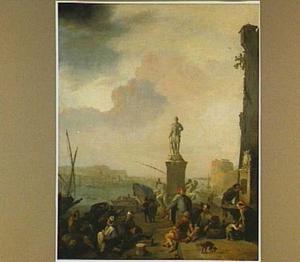 Zuidelijk havengezicht met veel figuren en het standbeeld van Ferdinand I de' Medici in Livorno