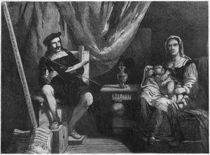 Murillo zijn vrouw en haar kind schilderende