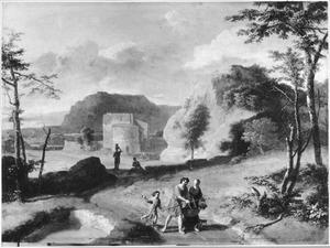 Zuidelijk landschap met wandelaars