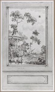 Behangselvlak met omlijsting en lambrisering met een zuidelijk landschap met offerplaats