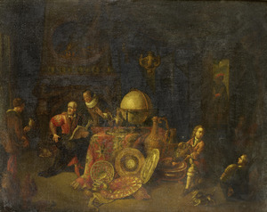 Een geleerde met bedienden in zijn werkkamer