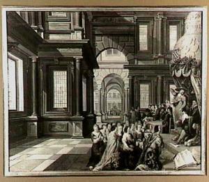 Allegorie op de onderdrukking van de godsdienstvrijheid in de Nederlanden onder de hertog van Alva; de 17 Nederlandse provinciemaagden knielend voor Alva, Granvelle en de paus, op de achtergrond de onthoofding van Egmond en Hoorne op de markt in Brussel