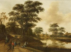 Landschap met een ruiters en jagers op een weg langs een rivier
