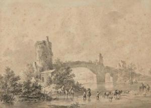 Italianiserend rivierlandschap met vervallen brug
