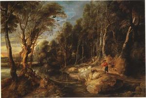 Landschap met herder en schapen in een bos