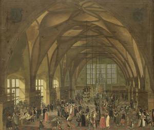 Interieur van de Grote zaal in het Hradschin te Praag met kunsthandelaren