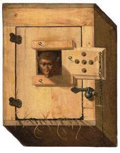 Trompe l'oeil van capucijneraapje in zijn doos