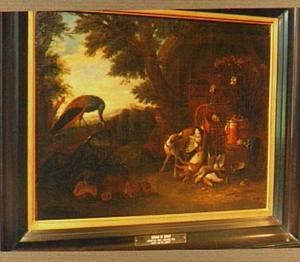 Boerenerf met pauw, jager, jachtbuit en een pot met anjers