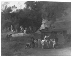 Zuidelijk landschap met ruiters en andere figuren bij een herberg, op de achtergrond een barbier