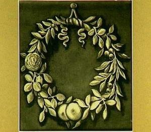 Lauwerkrans met bloemen en vruchten