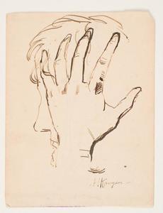 Schets van mannenhoofd ondersteund door zijn hand
