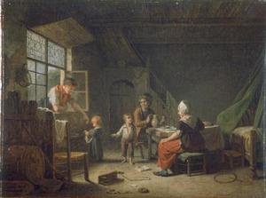 Boereninterieur met gezin bij het middagmaal