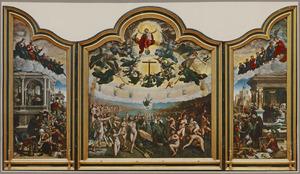 Drie werken van Barmhartigheid: het laven van dorstigen, het verzorgen van zieken, het herbergen van vreemdelingen (binnenzijde links), Het laatste oordeel en het zevende werk van barmhartigheid: het begraven van een dode (midden), Drie werken van Barmhartigheid: het kleden van de naakten; het bijstaan van stervenden, het bevrijden van gevangenen (binnenzijde rechts); De HH. Stefanus en Marcus (buitenzijde links), De HH. Laurentius en Elisabeth (buitenzijde rechts)