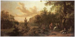 Parklandschap met jagers