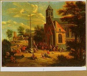 Landschap met uitdeling van voedsel bij een kerk