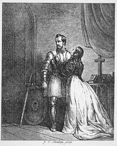 Een krijgsman neemt afscheid van zijn vrouw