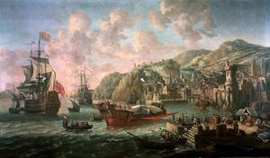 Mediterraan havengezicht met een Engelse driemaster