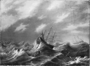 Zeegezicht met schepen in nood tijdens een storm