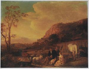 Italianiserend landschap met rustende figuren