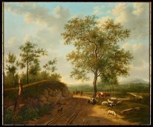 Landschap met vee en herder rustend bij een zandweg