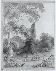 Arcadisch landschap met dansende figuren in een bos