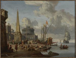 Zuidelijk havengezicht met een obelisk