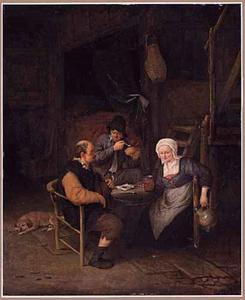 Drinkende en rokende boeren in een interieur