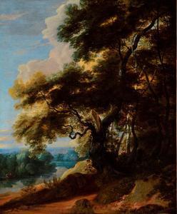 Bebost landschap met een rivier