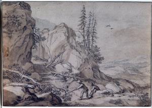 Waterval in een rotslandschap met twee hengelaars in de voorgrond