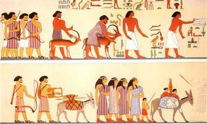 Aankomst van een Aziatische familie in Egypte