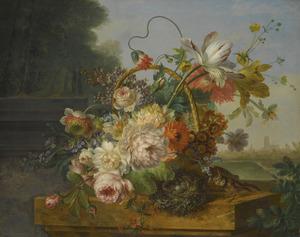 Stilleven van bloemen in een mand, op een marmeren voetstuk in een landschap met de toren van de Laurenskerk van Rotterdam aan de horizon