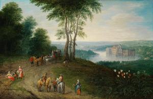 Boslandschap met reizigers, uitziende over een vallei met een waterslot