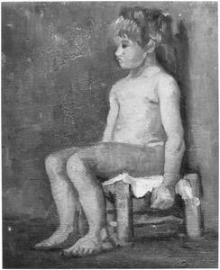 Naakt studie: jong zittend meisje