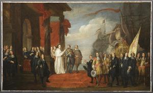 De Antwerpse kolveniers in tegenwoordigheid van keizer Karel, hun hoofdman en de abt van Sint-Michiels